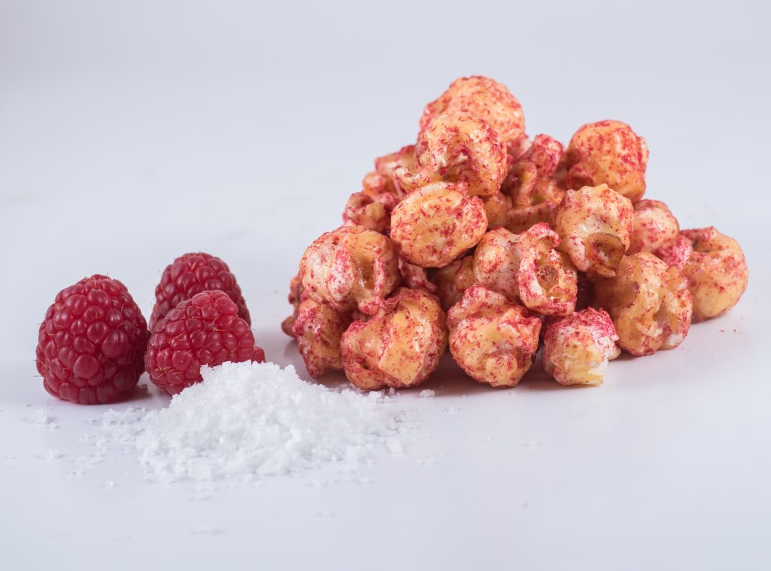 Gourmet popcorn with caramel and rasphberry